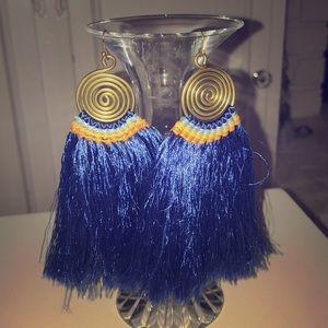 Blue fringe drop earrings